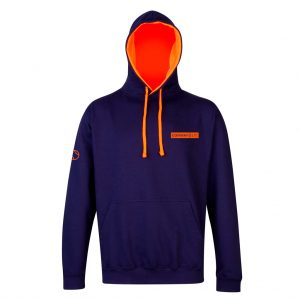 JH013 - Unisex Hoodie - Oxford Navy with Electric Orange Hood