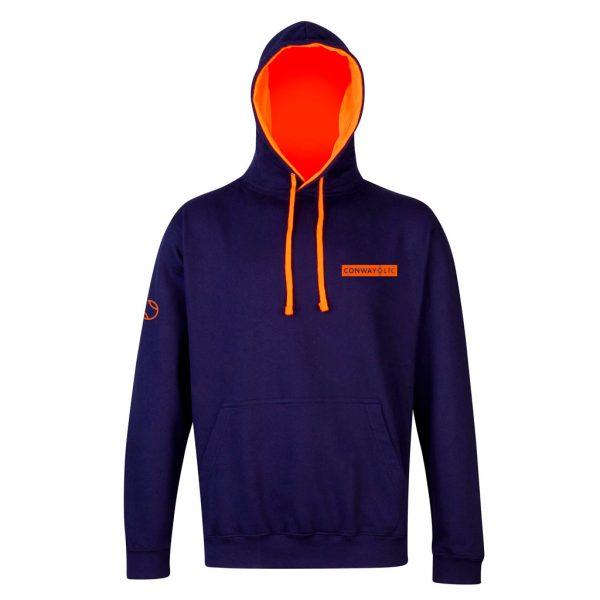 JH013 - Unisex Hoodie - Oxford Navy with Electric Orange Hood