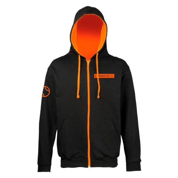 Unisex Zip Up Hoodie JH053 - Jet Black with Orange Crush hood