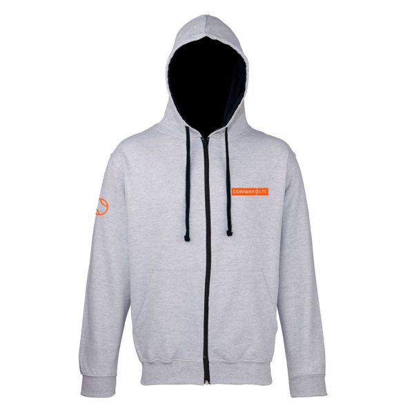 Unisex Zip Up Hoodie JH053 - Heather Grey with New French Navy hood