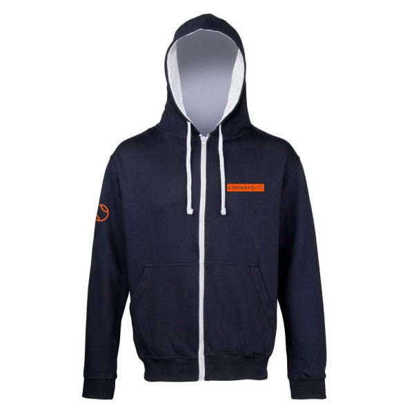 Unisex Zip Up Hoodie JH053 - French Navy with Heather Grey hood