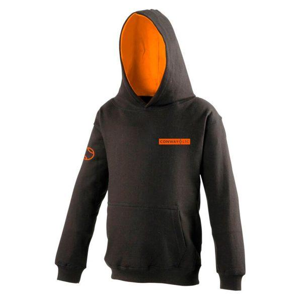 JH003 - Unisex Hoodie - Charcoal Grey with Orange Crush Hood