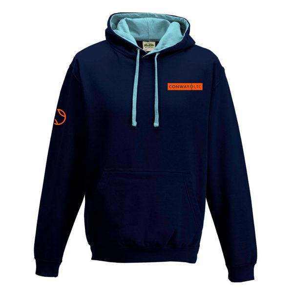 JH003 - Unisex Hoodie - French Navy with Sky Blue Hood