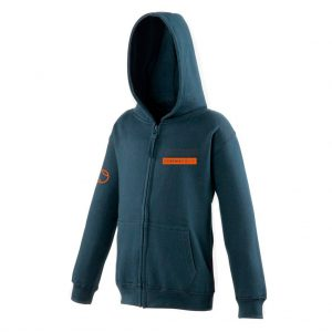 JH50J - Junior Zip-up Hoodie - New French Navy with Orange Logo