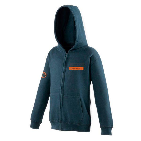 JH50J - Junior Zip-up Hoodie - New French Navy with Orange Logo