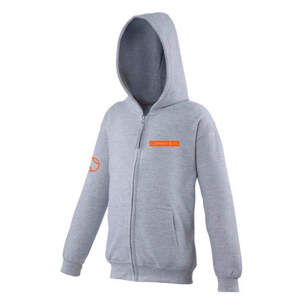 JH50J - Junior Zip-up Hoodie - Heather Grey with Orange Logo