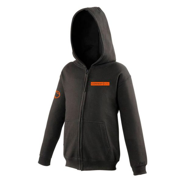 JH50J - Junior Zip-up Hoodie - Jet Black with Orange Logo