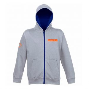 JH53J - Junior Varsity Zip Up - Heather Grey with New French Navy Hood